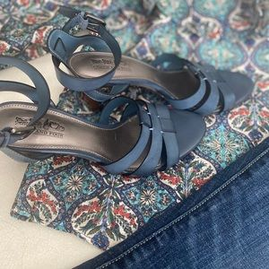 Coach and Four Blue Ankle Strap Size 5 1/2